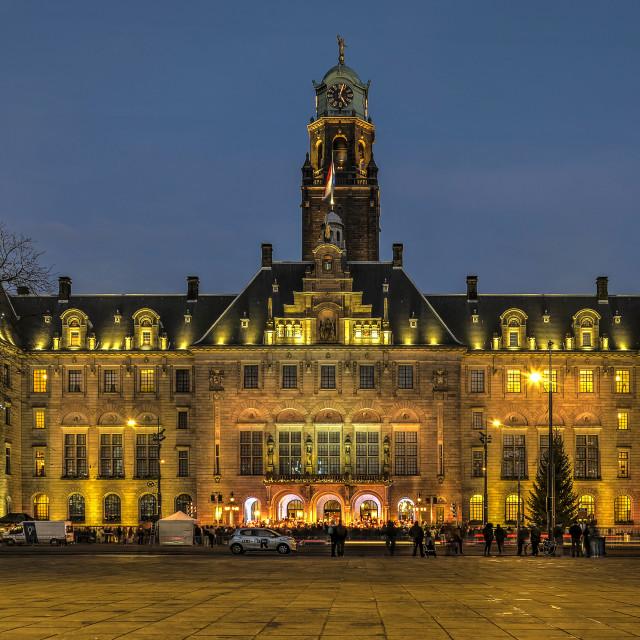"""Town hall christmas tree ceremony"" stock image"