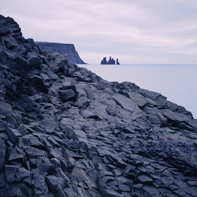 """The volcanic basalt coastline of Iceland."" stock image"