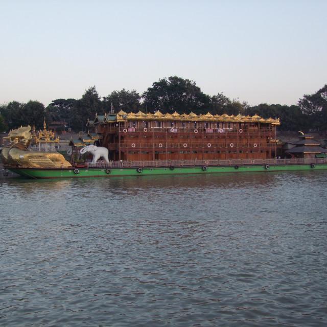 """""""Myanmar Style Floating Hotel"""" stock image"""