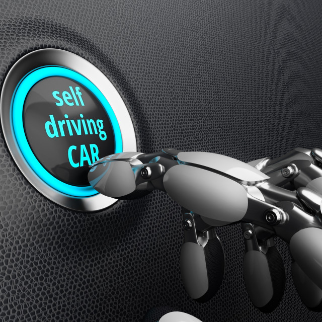 """Self driving car technology, illustration"" stock image"