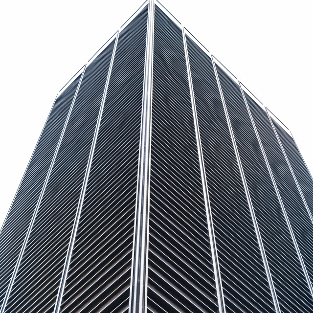 """""""Low angle view of skyscrper in downtown of New York"""" stock image"""