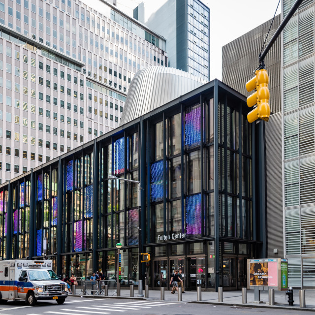 """""""Exterior view of The Fulton Center in New York"""" stock image"""