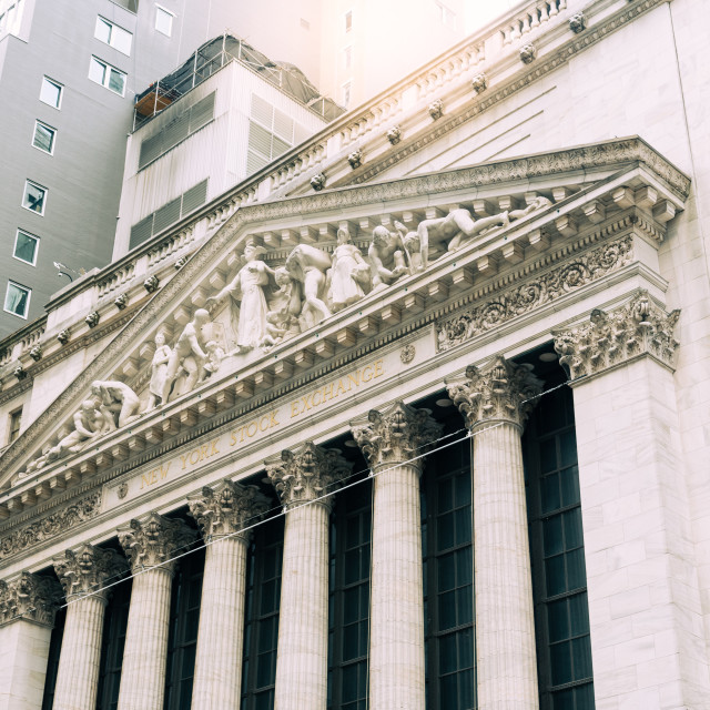 """""""Low angle view of New Stock Stock Exchange building in New York"""" stock image"""