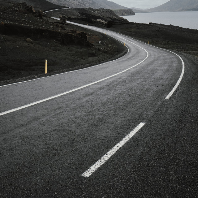 """""""An empty bending road background"""" stock image"""