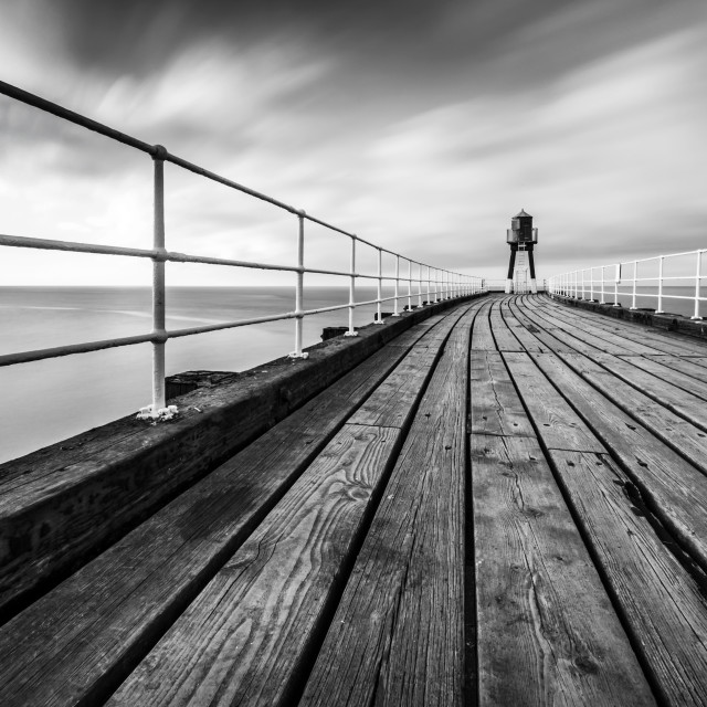 """Whitby West Pier"" stock image"