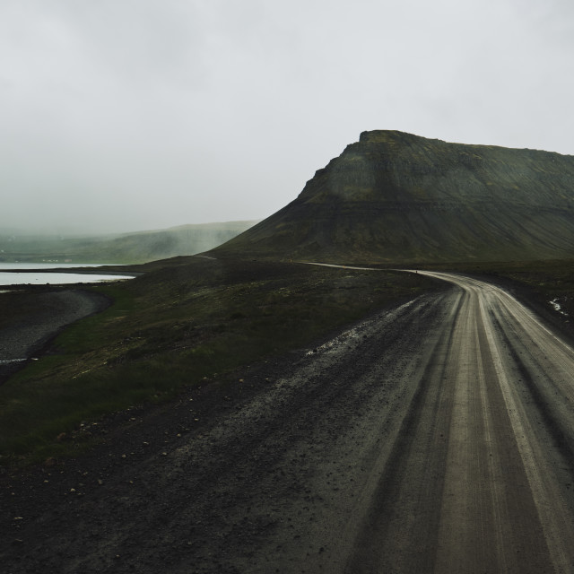 """An empty Iceland road landscape in the rain."" stock image"