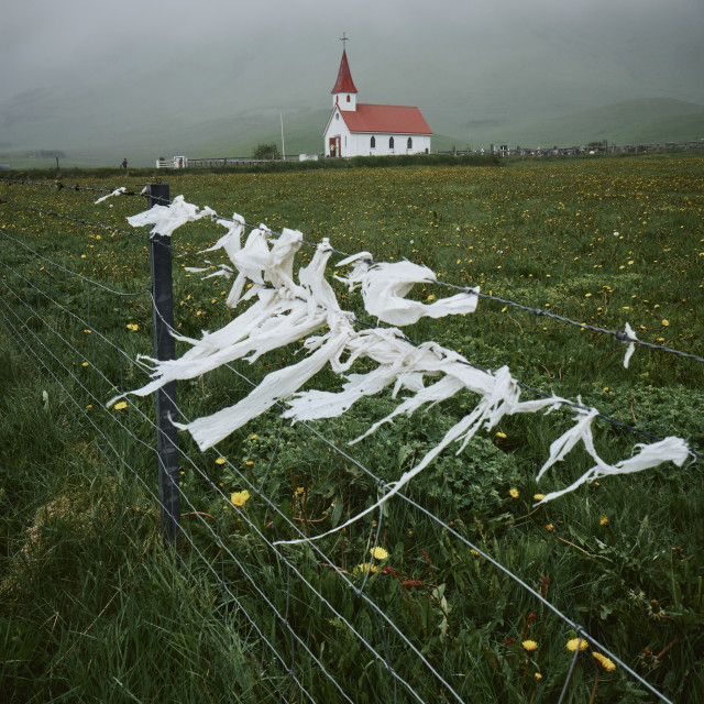 """""""A lone church in the windy Icelandic landscape."""" stock image"""
