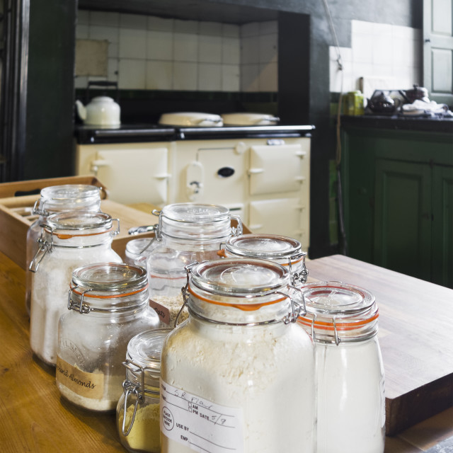 """""""Old kitchen with jars"""" stock image"""