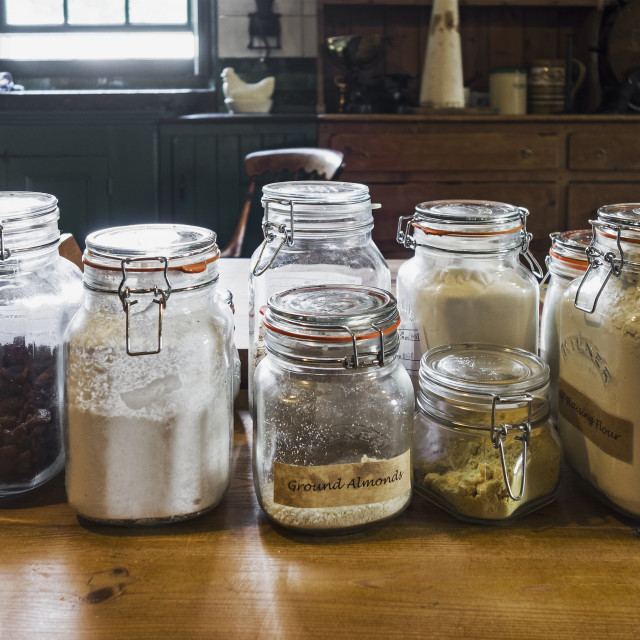 """Old kitchen jars"" stock image"
