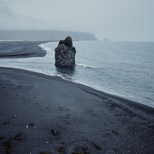 """The black volcanic sand Icelandic coastline."" stock image"
