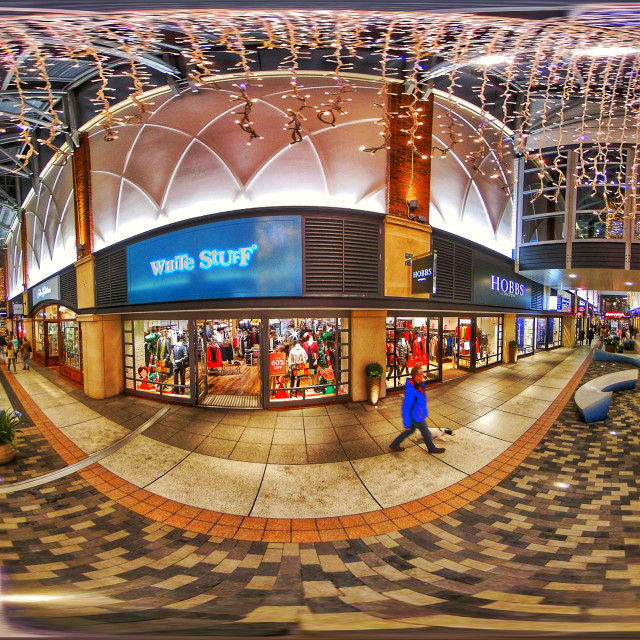 """""""Gunwharf Quays shopping outlet in Portsmouth (360º VR Spherical Panorama)"""" stock image"""