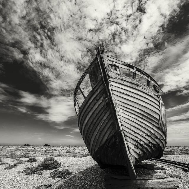 """""""Abandoned Trawler, Kent"""" stock image"""