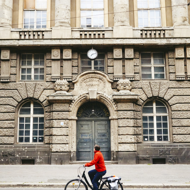 """""""Cycling the old streets of Berlin."""" stock image"""