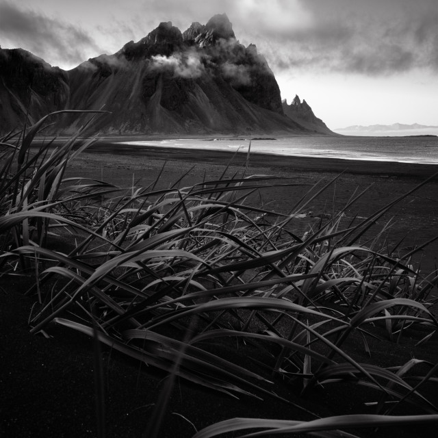 """Vestrahorn mountain and black sand beach Stokksnes Iceland"" stock image"