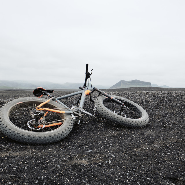 """""""Fat wheeled tourist bicycle in Iceland."""" stock image"""