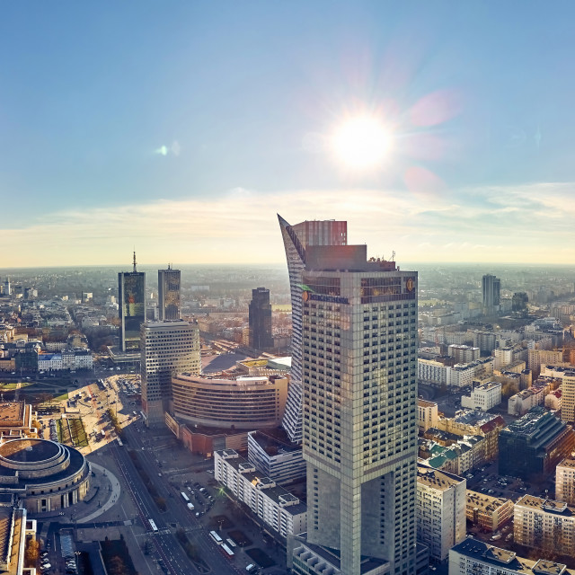 """WARSAW, POLAND - NOVEMBER 20, 2018: Beautiful panoramic aerial drone view to the center of Warsaw City and Palace of Culture and Science - a notable high-rise building in Warsaw, Poland"" stock image"