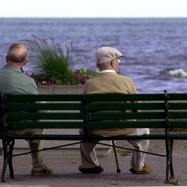 """Old Fiends -Lakeview Pk Beach"" stock image"