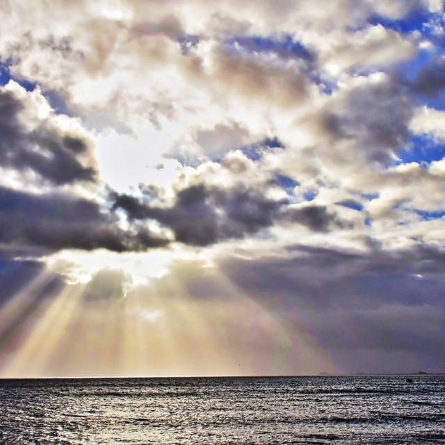 """Sunrays over Weymouth"" stock image"