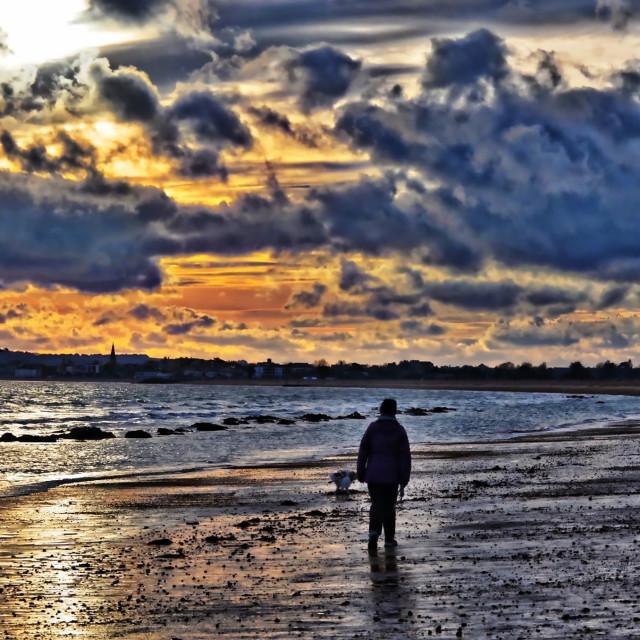"""Walking the Beach"" stock image"