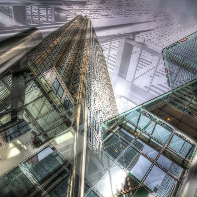 """""""Canary Wharf Tower Abstracts"""" stock image"""