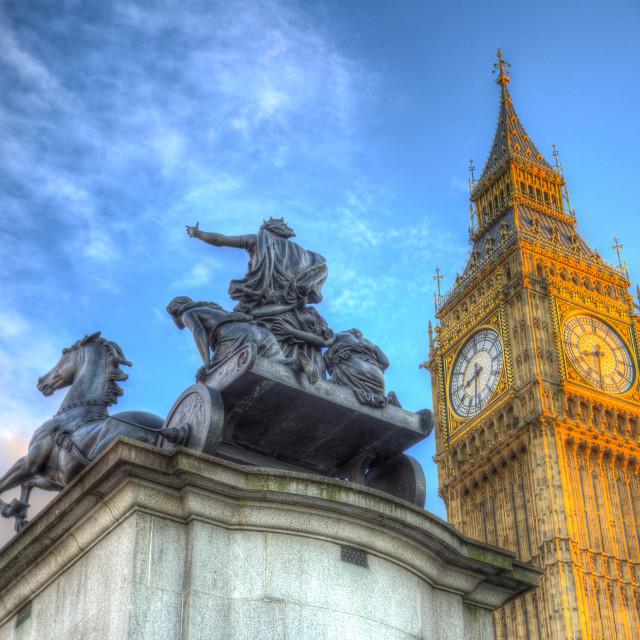 """Big Ben and Boadicea Statue"" stock image"