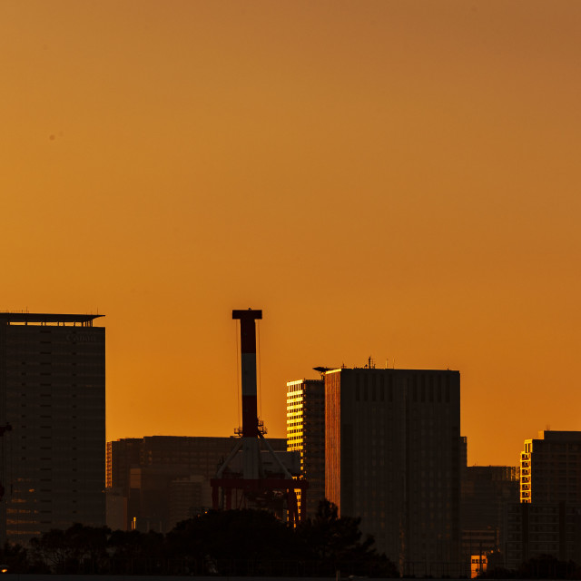 """Sunset at Odaiba, Tokyo"" stock image"