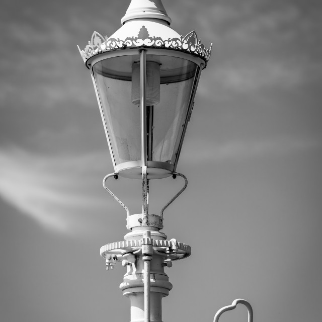 """Harbour Light B&W"" stock image"