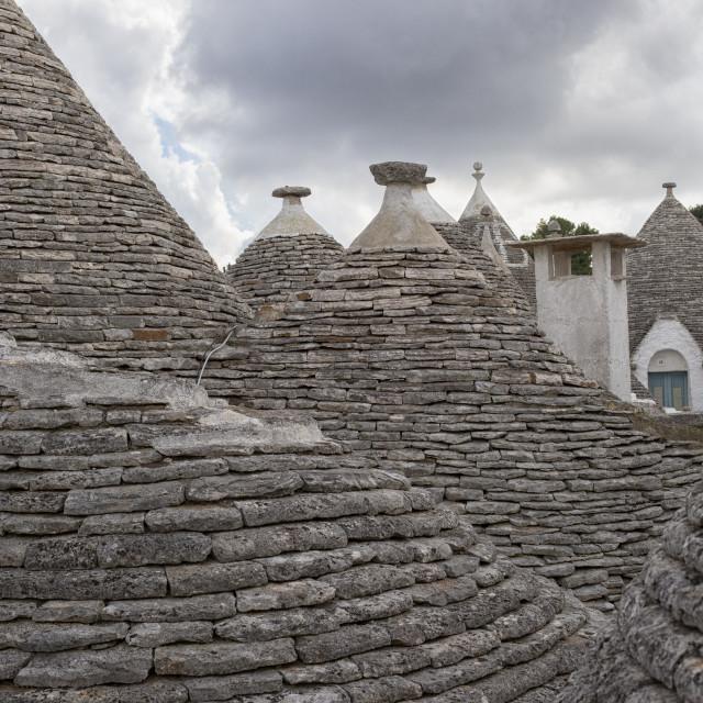 """""""Trulli conical stone roofs, Alberobello, Trulli Village, Puglia,"""" stock image"""