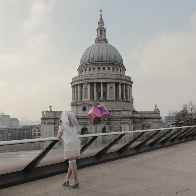 """""""A bride to be on a hen do at St Paul's Cathedral London"""" stock image"""