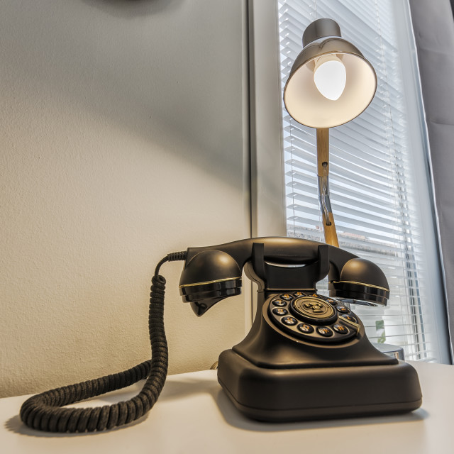 """""""Telephone and lamp"""" stock image"""