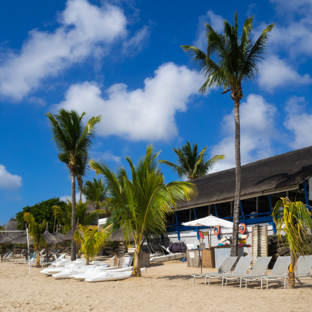 """Beachfront of Veranda hotel resort, Pointe aux Biches, Mauritius"" stock image"