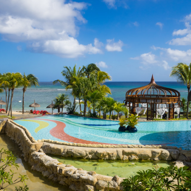 """Waterfront of Le Meriden Ile Maurice hotel, Pointe aux Piments,"" stock image"