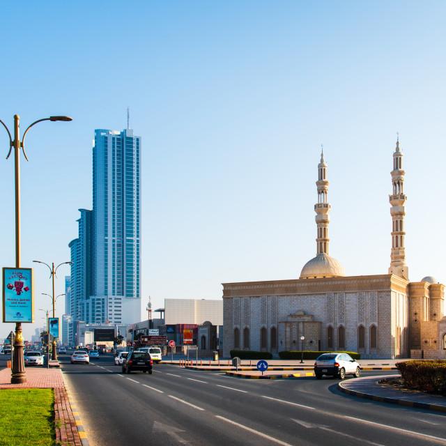 """Ajman, United Arab Emirates - December 6, 2018: Ajman Corniche r"" stock image"