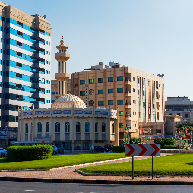 """Ajman, United Arab Emirates - December 6, 2018: Mosque in jman d"" stock image"