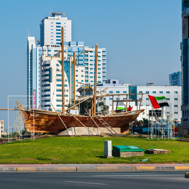 """Ajman, United Arab Emirates - December 6, 2018: Yacht monument r"" stock image"