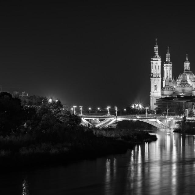 """View of Basilica Pillar in Zaragoza , Spain."" stock image"