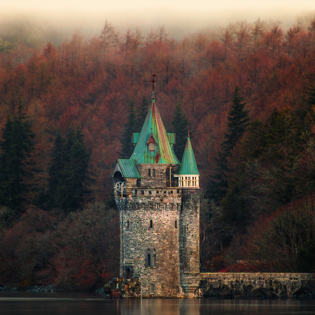 """The 'Princess Tower' - Lake Vyrnwy Wales"" stock image"