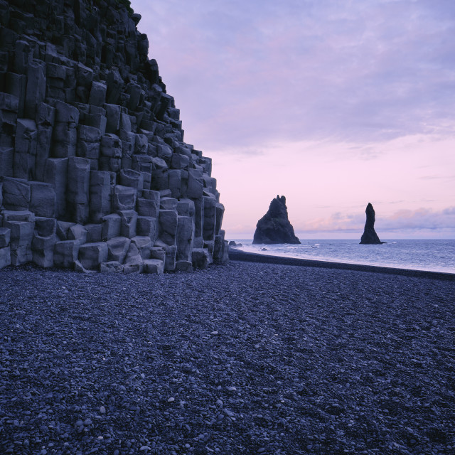 """The basalt lava coastline of Iceland."" stock image"