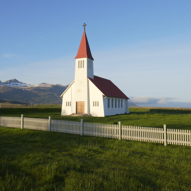 """""""A lone church in Iceland."""" stock image"""