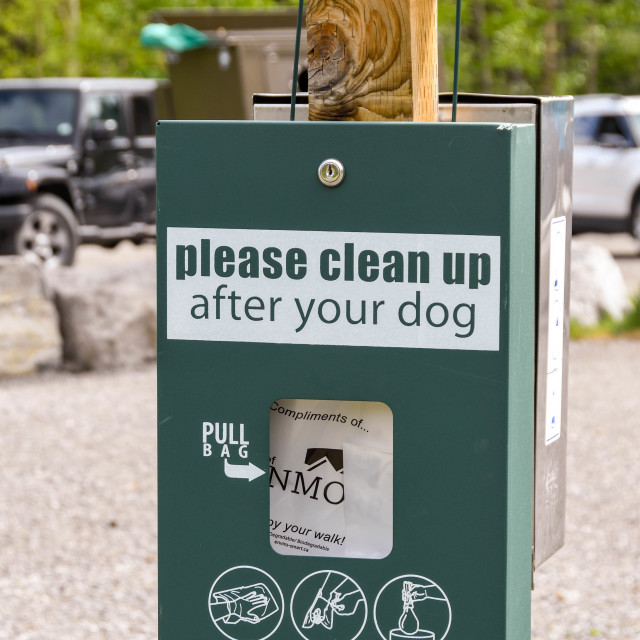 """""""Sign asking dog owners to clean up any mess from their dog."""" stock image"""