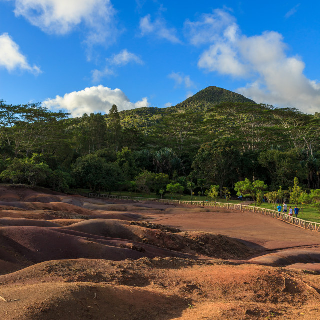 """Coloured Earths (Terres de Couleurs), Chamarel, Mauritius"" stock image"
