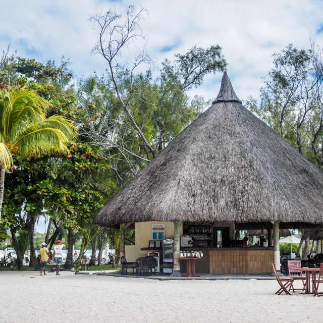 """Bar on the beach, Île aux Cerfs, Mauritius, Indian Ocean"" stock image"