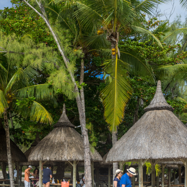 """Beach restaurant, Île aux Cerfs, Mauritius, Indian Ocean"" stock image"
