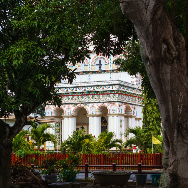"""View through trees of the main temple of Maheshwarnath Mandir, T"" stock image"