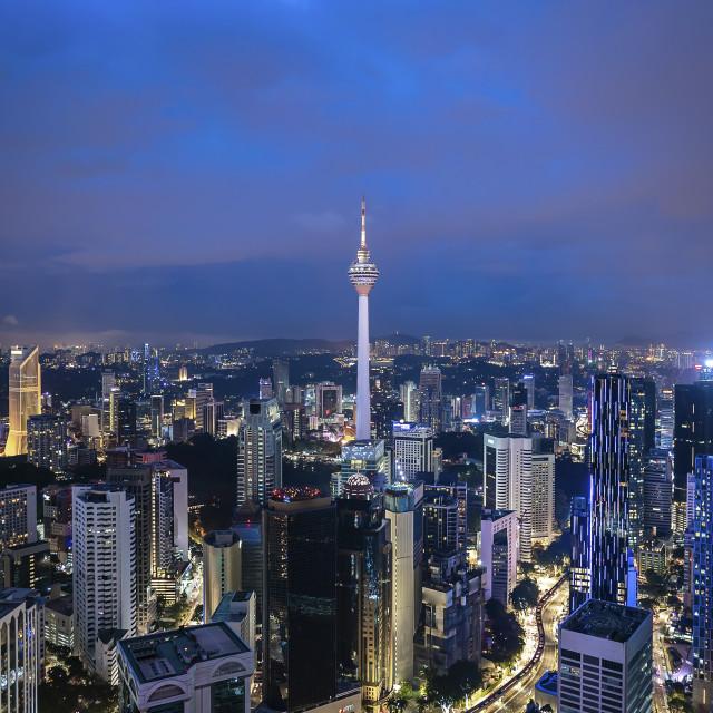 """Night at Kuala Lumpur Tower"" stock image"