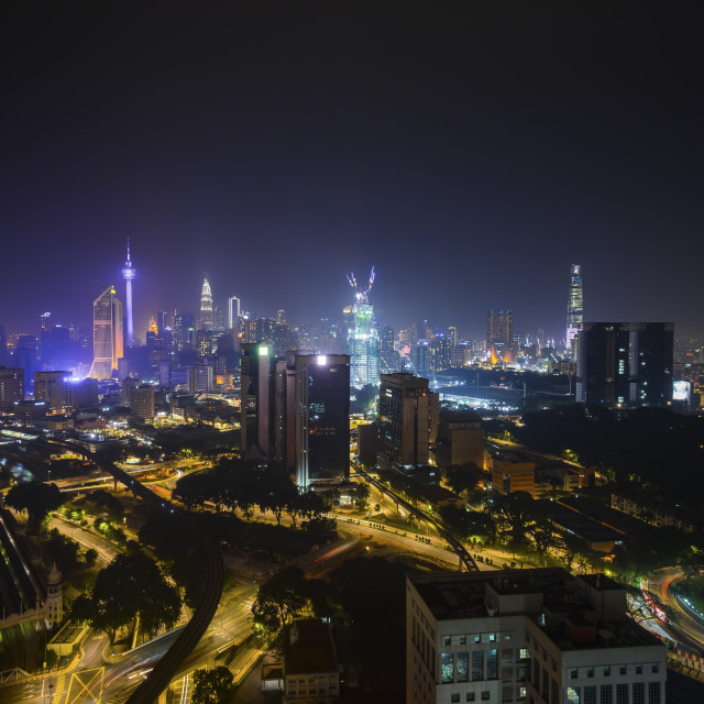 """Aerial view of night scene at Kuala Lumpur city skyline"" stock image"