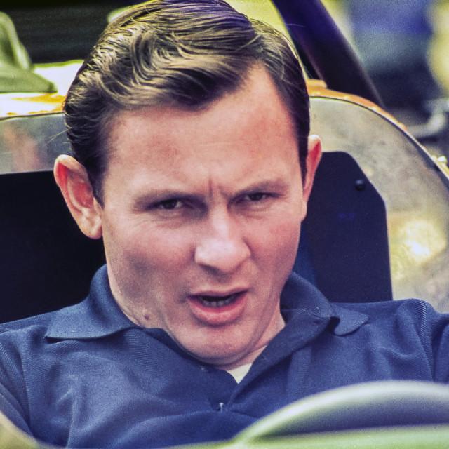"""Bruce Mclaren, Silverstone"" stock image"
