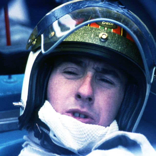 """""""Jackie Stewart in discussion - Silverstone Pits 1968"""" stock image"""