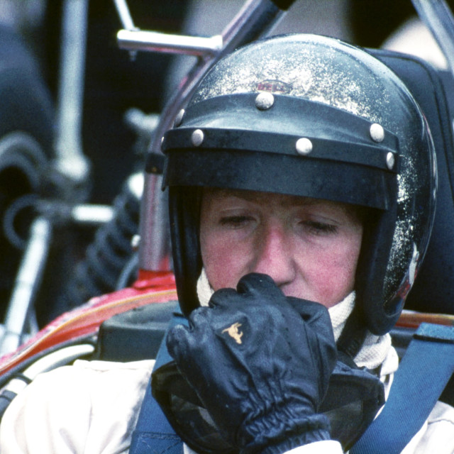 """""""Jochen Rindt in thought - Silverstone 1968"""" stock image"""