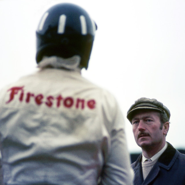 """""""Colin Chapman and Graham Hill, Silverstone 1968"""" stock image"""